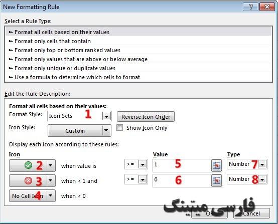 پنجره New formatting rule - format all cells based on their values - شرط در اکسل- shart gozashtan dar exceel