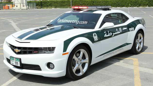 شورولت کامارو - Chevrolet Camaro SS Dubai Police car front three quarters