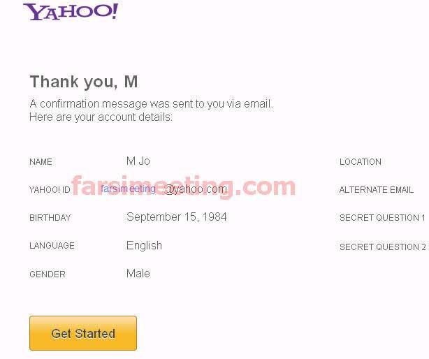 create new account in yahoo! mail-فرم آخر ساخت ايميل ياهو