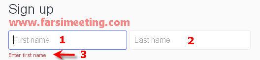 ساخت ایمیل یاهو در مهرماه 93 بخش سوم نام و نام خانودگی-farsimeeting.com-آموزش ورود به ایمیل یاهو-first name-صفحه ثبت نام ایمیل یاهو-www.yahoo.com-ساخت ایمیل