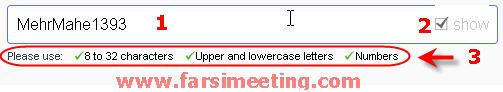 ساخت ایمیل یاهو-انتخاب Password یا رمز عبور-ساخت ایمیل یاهو در مهرماه 93 بخش پنجم انتخاب پسورد یا رمز عبور-Upper and lowercase letters-استفاده از  اعداد و ارقام-فارسی میتینگ-farsimeeting.com-ساخت ایمیل یاهو به فارسی-shoj hdldg